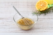 Salad dressing with olive oil, honey, and mustard
