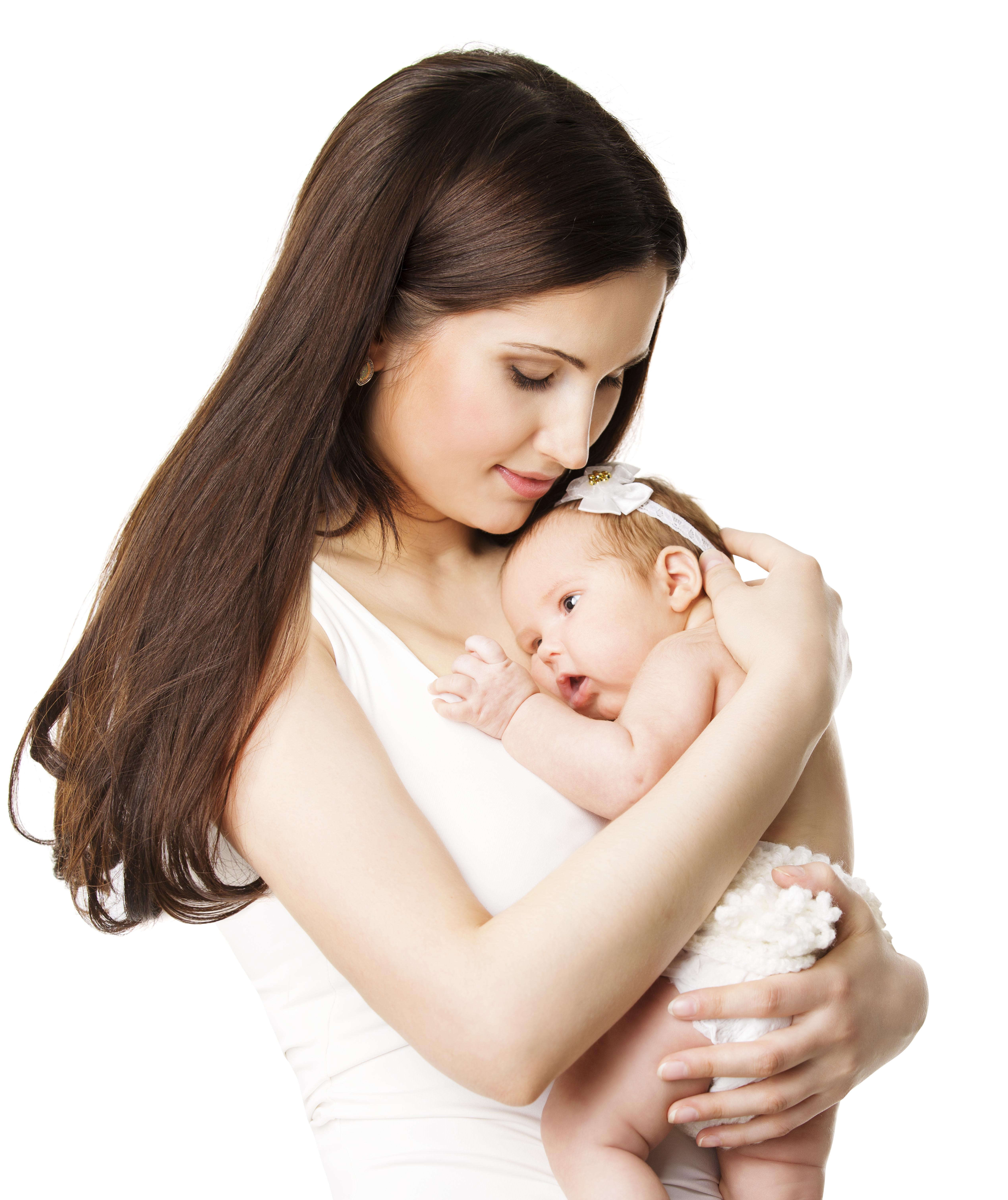 Mother Newborn Baby Family Portrait, Mom Embracing New BornKid