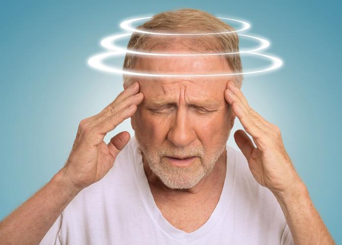 Headshot senior man with vertigo suffering fromdizziness